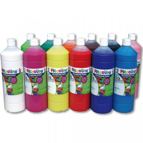 Piccolino Schulmalfarben Set 12x 1000ml - Premium Color - Gouache Schultempera