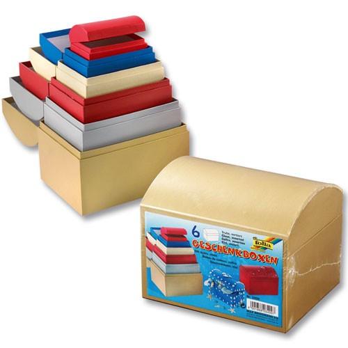 geschenkboxen truhe farbig aus pappe zum basteln und gestalten 6 st ck basteln malen werken. Black Bedroom Furniture Sets. Home Design Ideas