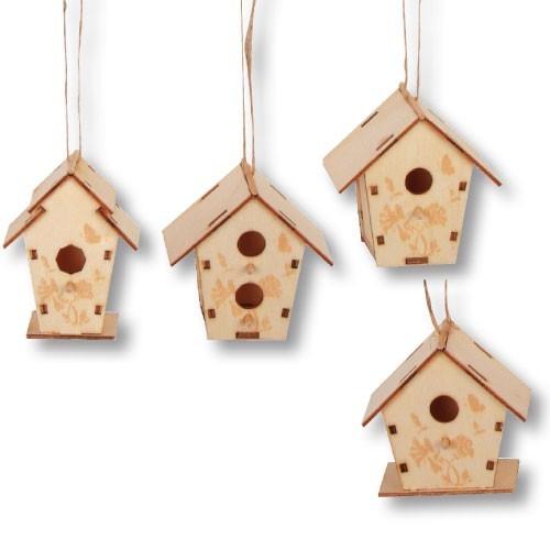 holz nistkasten vogelhaus zum anmalen 6x6cm 4 st ck im. Black Bedroom Furniture Sets. Home Design Ideas