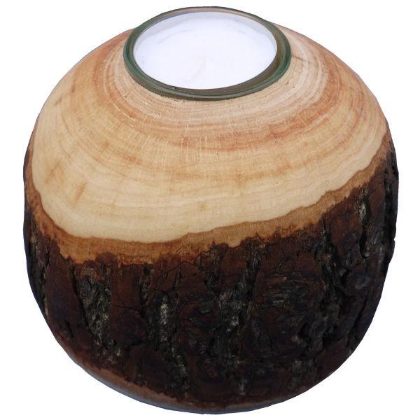 rinden teelichthalter kugel klein 7cm deko teelichtkugel holz kindergartenausstattung. Black Bedroom Furniture Sets. Home Design Ideas
